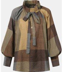 camicetta casual da donna a maniche lunghe annodata con bottoni stampati a quadri