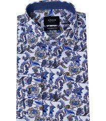 adam est 1916 katoenen dressual overhemd print blauw