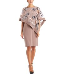 r & m richards petite asymmetrical embroidered-mesh overlay dress