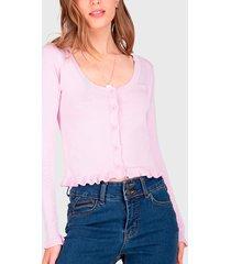 sweater io  crop rosa - calce ajustado