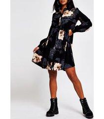 river island womens petite black floral shirt smock mini dress
