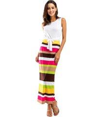camiseta corta y vestido sexy a rayas con vestidos de mujer-multicolor