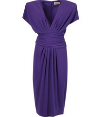 draped mid-length v-neck dress, violet purple