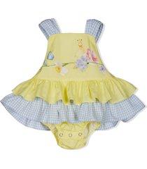 lapin house sleeveless ruffled dress - yellow