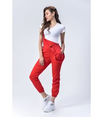 overol dril dama rojo di bello jeans  classic ref d964