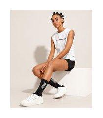 regata muscle tee de algodão esportiva decote redondo baw clothing branca