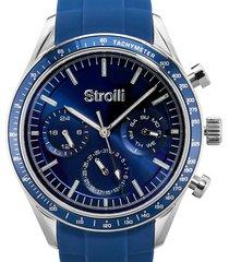 orologio multifunzione cinturino blu in silicone e cassa in acciaio per uomo