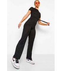 geribbelde wide leg jumpsuit met hoge kraag en schouderpads, black