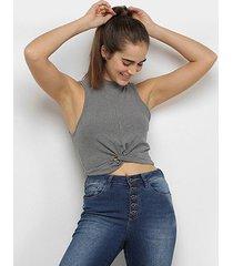 blusa colcci cropped fitness canelada feminina