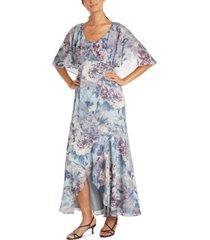r & m richards floral-print capelet dress