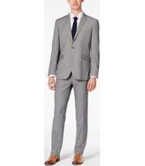 kenneth cole reaction men's slim-fit ready flex stretch light gray box plaid suit