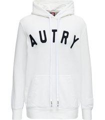 autry white cotton hoodie with logo