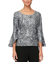 alex evenings embroidered bell-sleeve blouse