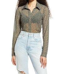 women's afrm zayne floral button-up blouse, size medium - green