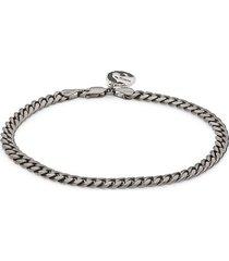 effy men's black rhodium-plated sterling silver miami cuban link chain bracelet