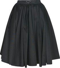 prada logo plaque flared pleated skirt