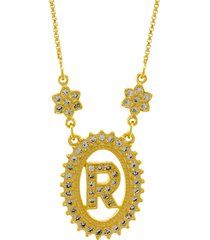 colar horus import letra r zircônias dourado