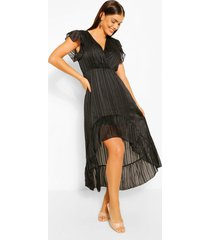 gestreepte satijnen midaxi jurk met langere achter zoom, zwart