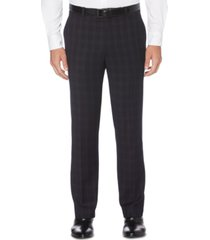 perry ellis portfolio men's slim-fit stretch subtle tonal plaid dress pants