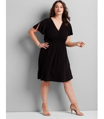 lane bryant women's knit kit crossover fit & flare dress 10/12 black