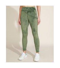 calça legging de plush feminina esportiva ace cintura alta verde militar