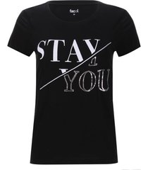 camiseta lentejuelas stay you color negro, talla l