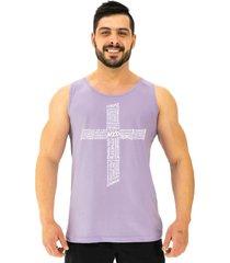 regata clã¡ssica masculina alto conceito crucifixo motivacional lilã¡s beb㪠- lilã¡s - masculino - algodã£o - dafiti