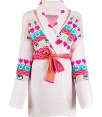 chiara ferragni intarsia knit longline cardigan - pink