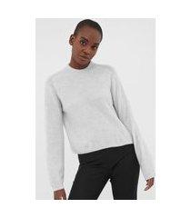 suéter lã banana republic tricot aire puff-sleeve cinza