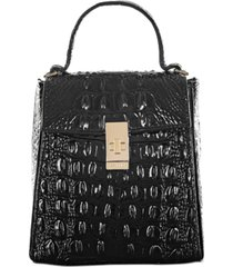 brahmin black melbourne embossed leather midge satchel