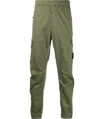 stone island cargo logo patch trousers - green