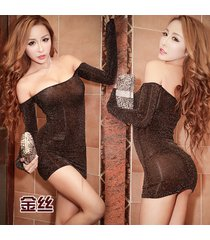 pf257 sexy off-should mini dress w long sleeve, feminine  size m,l, gold yarn