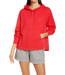 zella mesh around hoodie, size x-large in red hibiscus at nordstrom