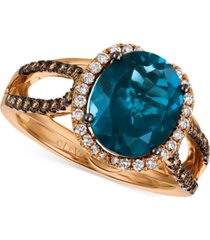 le vian chocolatier blue topaz (4 ct. t.w.) & diamond (3/8 ct. t.w.) ring in 14k rose gold, (also in rhodolite garnet), created for macy's