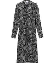 mönstrad skjortklänning med rund halsringning och lång ärm