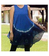 cotton batik dress, 'blue thai holiday' (thailand)
