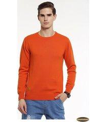 suéter manga larga gaupucean para hombre-naranja