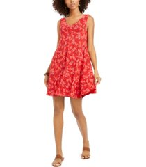 style & co cross-back printed dress, created for macy's