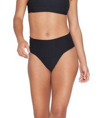 women's l space desi high waist bikini bottoms, size x-large - black
