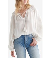 lucky brand cutwork peasant top