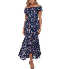 xscape 3d-floral off-the-shoulder gown