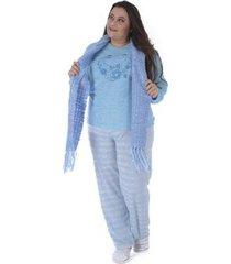 pijama de inverno plus size listrado victory feminino