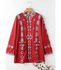 camicetta vintage a maniche lunghe con stampa etnica per donna
