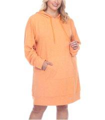 white mark women's plus size hoodie sweatshirt dress