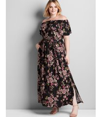 lane bryant women's convertible paisley maxi dress 26/28p black floral