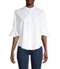 maje women's poet-sleeve cotton top - white - size 3 (l)