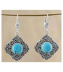 sterling silver dangle earrings, 'reflecting pool' (thailand)