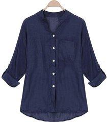 zanzea estilo coreano de las mujeres de lino camisas de verano fina con cuello en v manga larga blusa tapas ocasionales blusas tallas grandes (negro) -azul