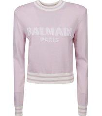 balmain cropped logo sweater