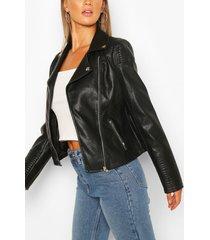 gewatteerde nepleren biker jas met stiksels, zwart